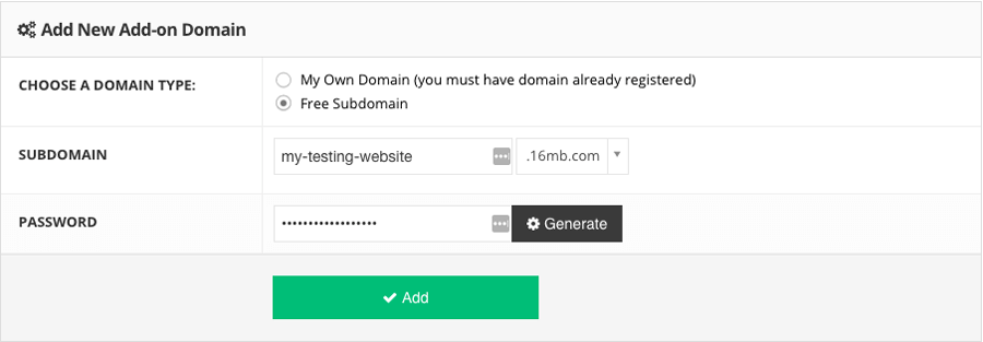 Making a staging website using a free subdomain provided by Hostinger