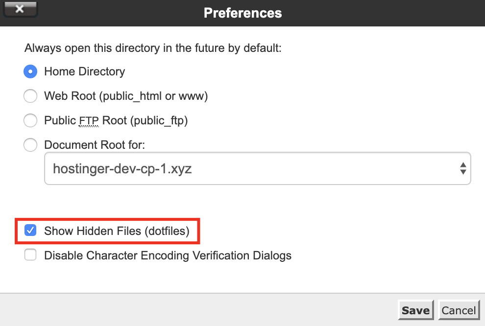 settings on cpanel on how to show your hidden WordPress files