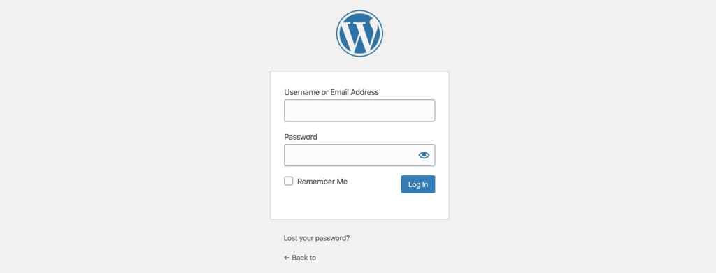 The login screen of WordPress dashboard