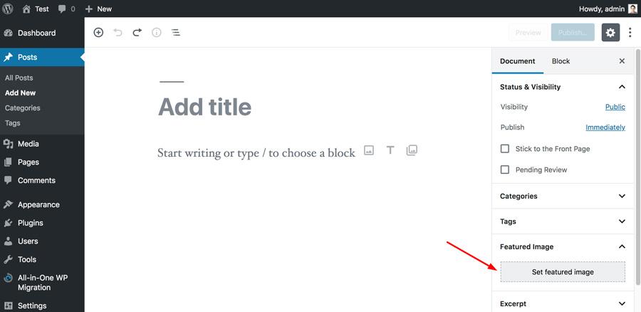 WordPress Add Featured Image