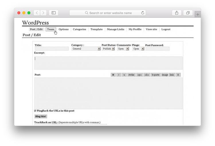 WordPress Version 0.7