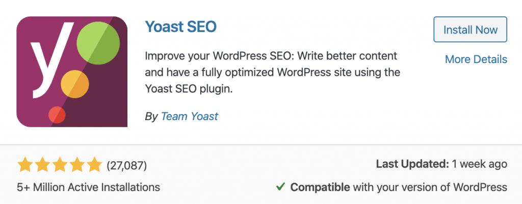 SEO yoast plugin to help create a website