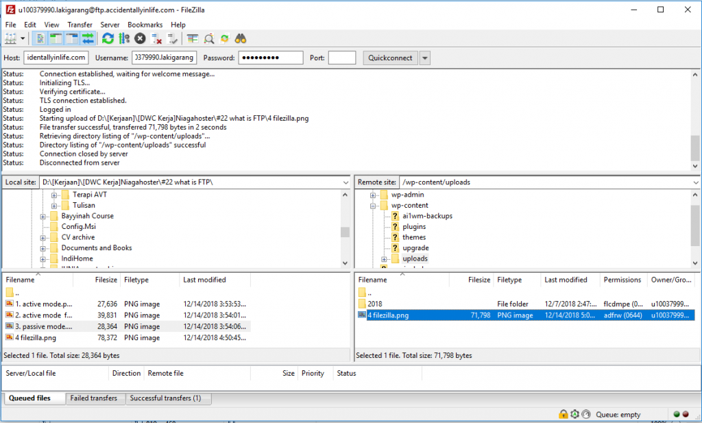 FileZilla connected to FTP server