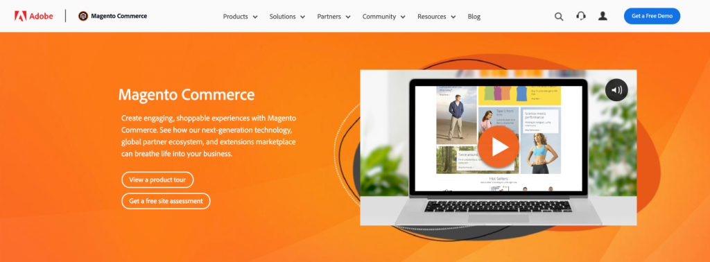 Adobe and Magneto eCommerce platform homepage