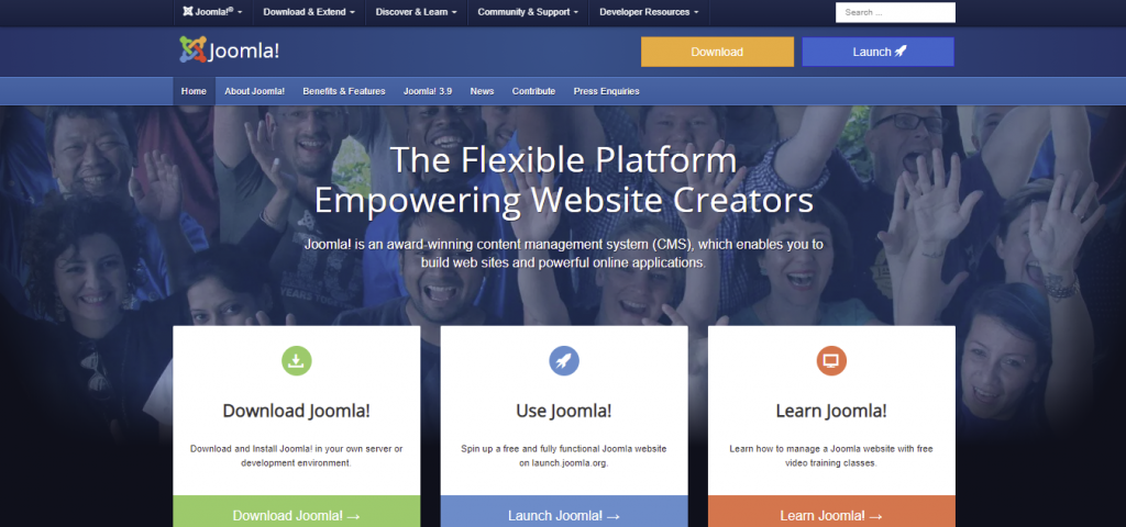 Joomla homepage featuring its flexible platform for website creators