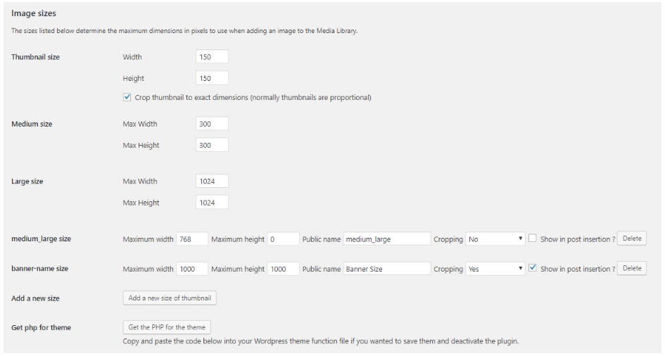 Simple image size plugin settings to change WordPress featured images