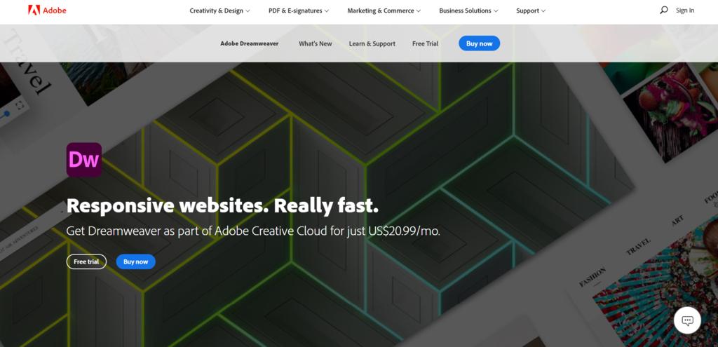 Screenshot of the Adobe Dreamweaver CC website