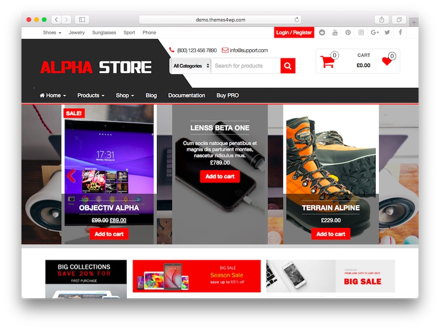 alpha store home page for WordPress eCommerce