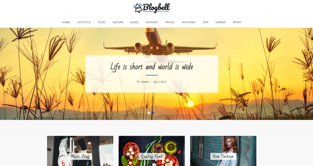 BlogBell Free WordPress Blog Theme