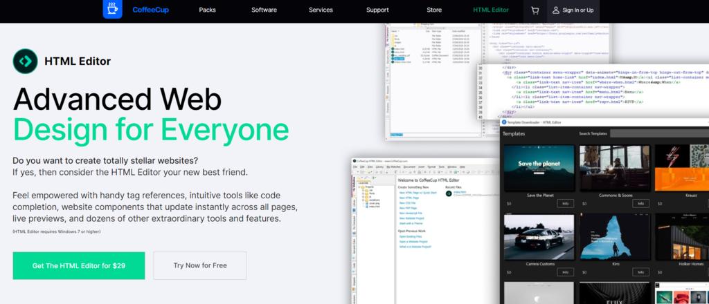 Screenshot of the CoffeeCup website
