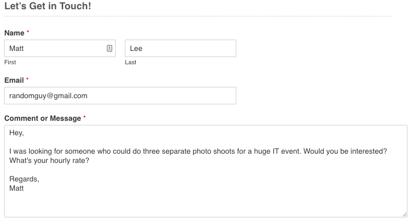 An example of a contact form in a photography website