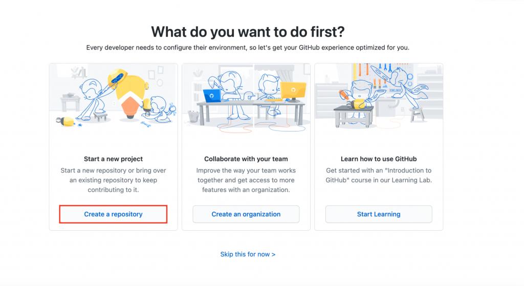 Create repository in GitHub