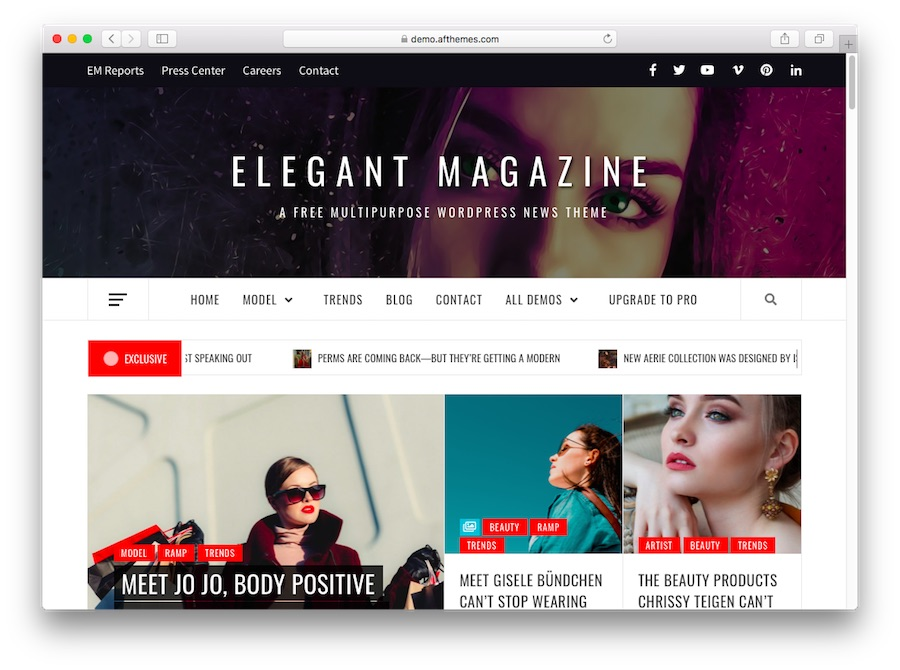 Elegant Magazine WordPress theme demo for blogs