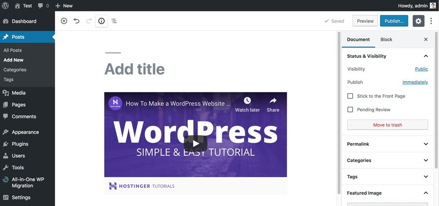 Embed Video in WordPress Post Editor