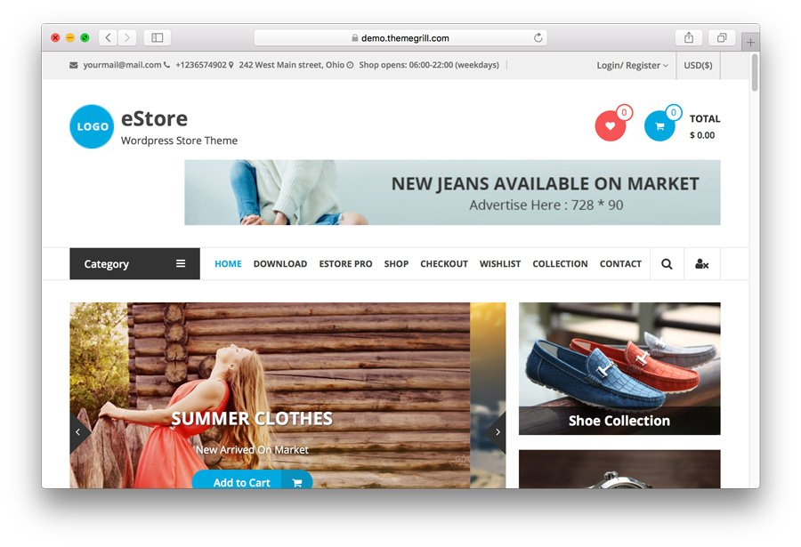 eStore WordPress eCommerce theme demo