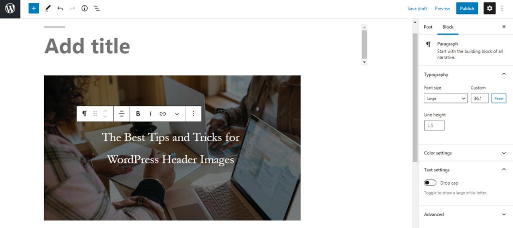 Screenshot showcasing Gutenberg's image toolbar