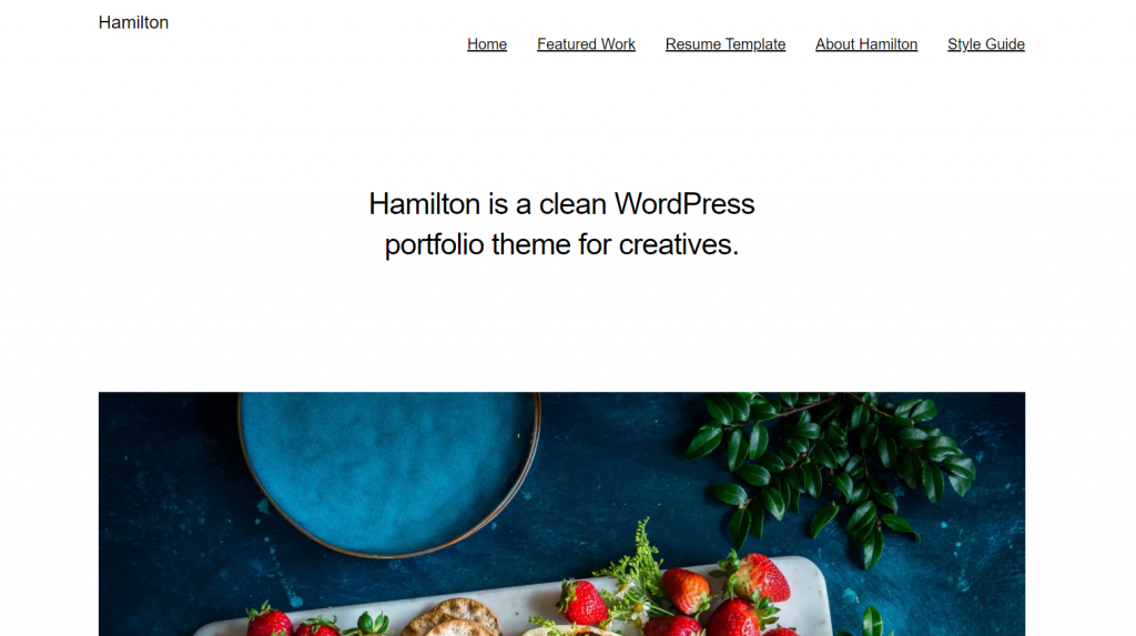 Hamilton WordPress portfolio theme
