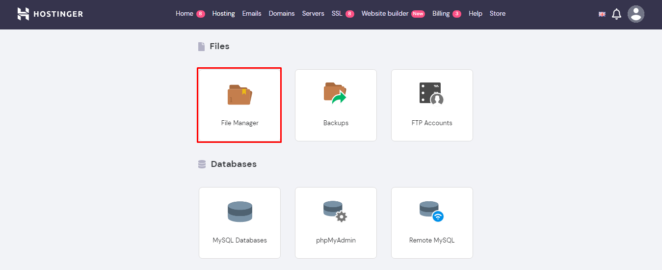 Screenshot showcasing file manager in hPanel