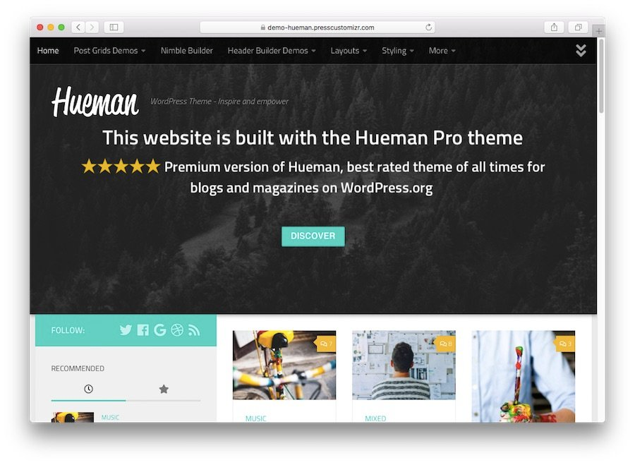 Hueman WordPress theme demo for blogs