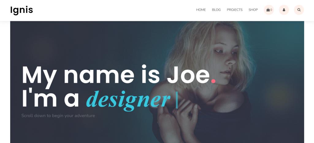 Ignis WordPress portfolio theme