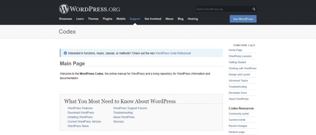 Codex platform for learning WordPress