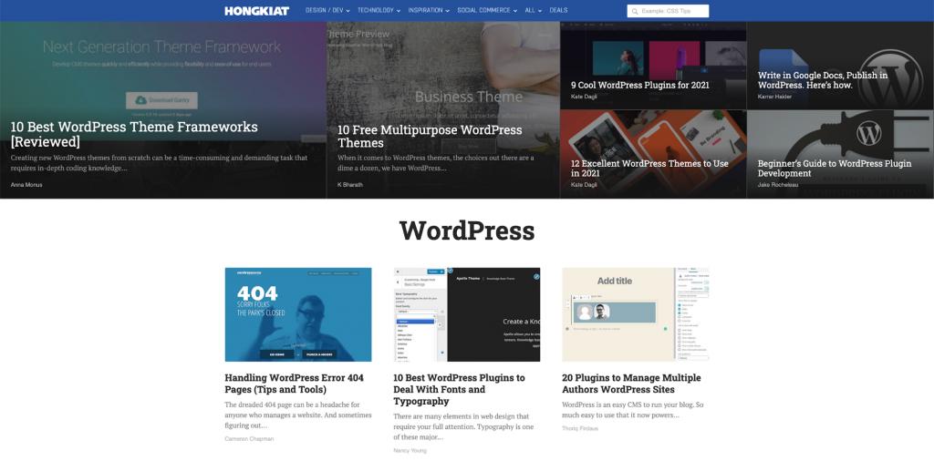 Hongkiat platform for learning WordPress