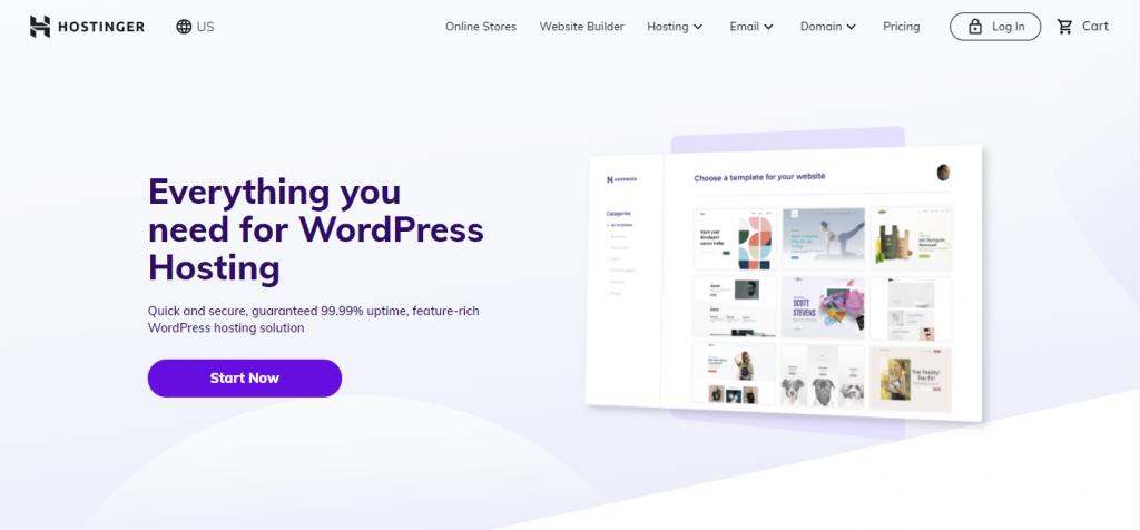 Hostinger WordPress hosting page