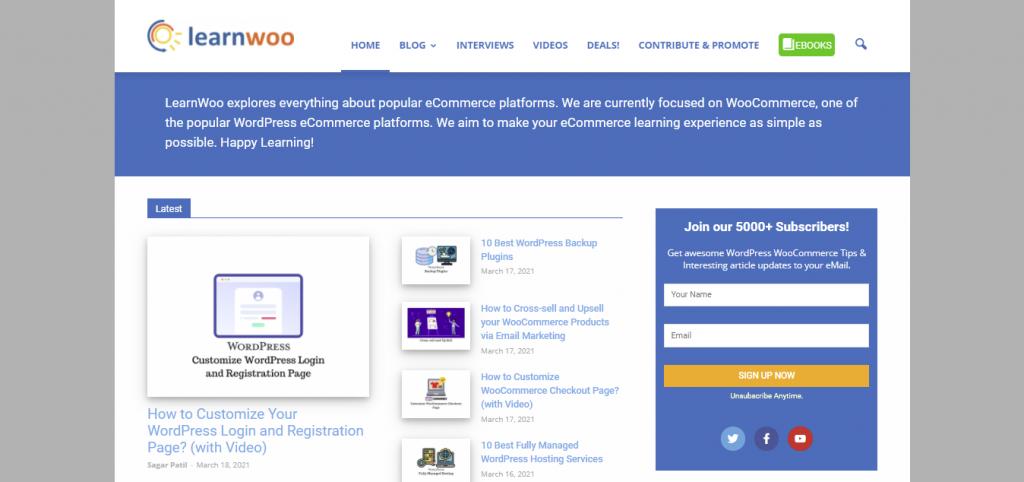 LearnWoo platform for learning WordPress