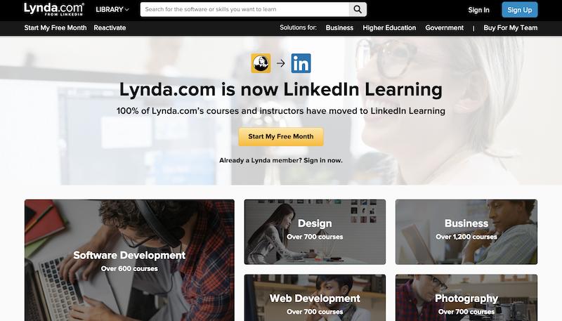 Lynda.com platform for learning WordPress