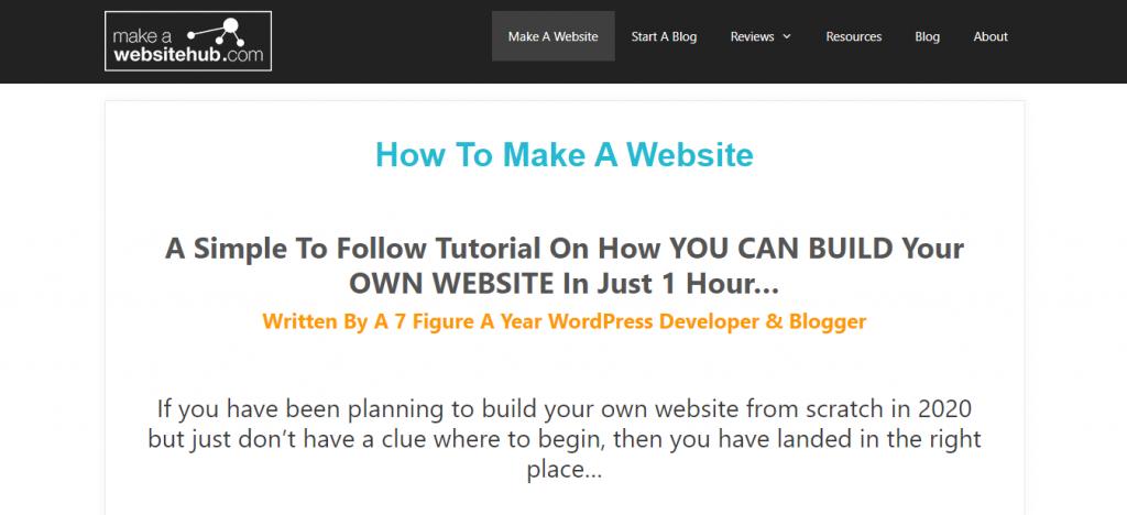 Websitehub platform for learning WordPress