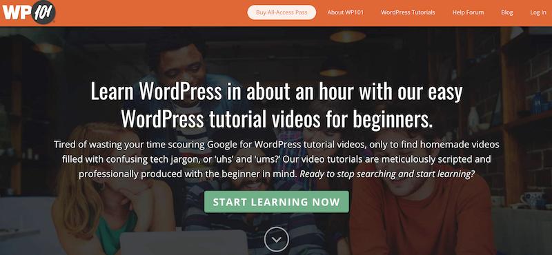 WP 101 platform for learning WordPress