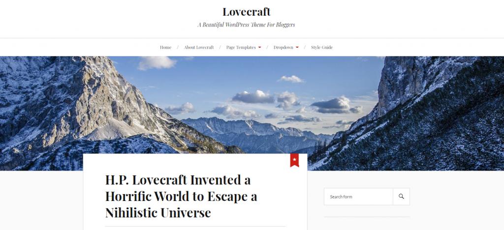 Lovecraft Free WordPress Blog Theme