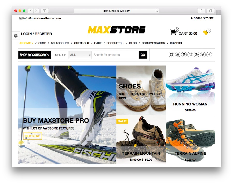 Max Store home page for WordPress with eCommerce