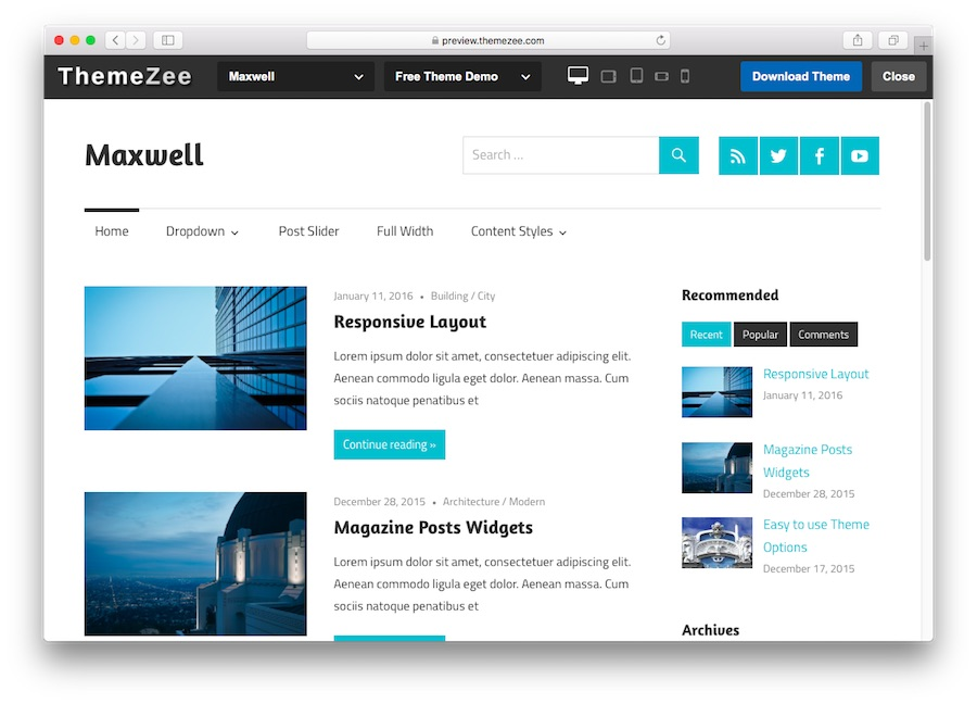 Maxwell WordPress theme demo for blogs