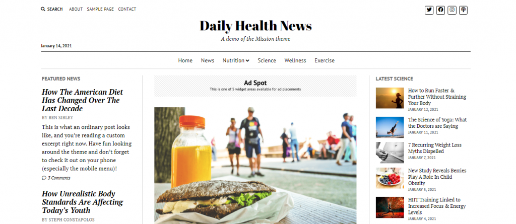 Mission News Free WordPress Blog Theme