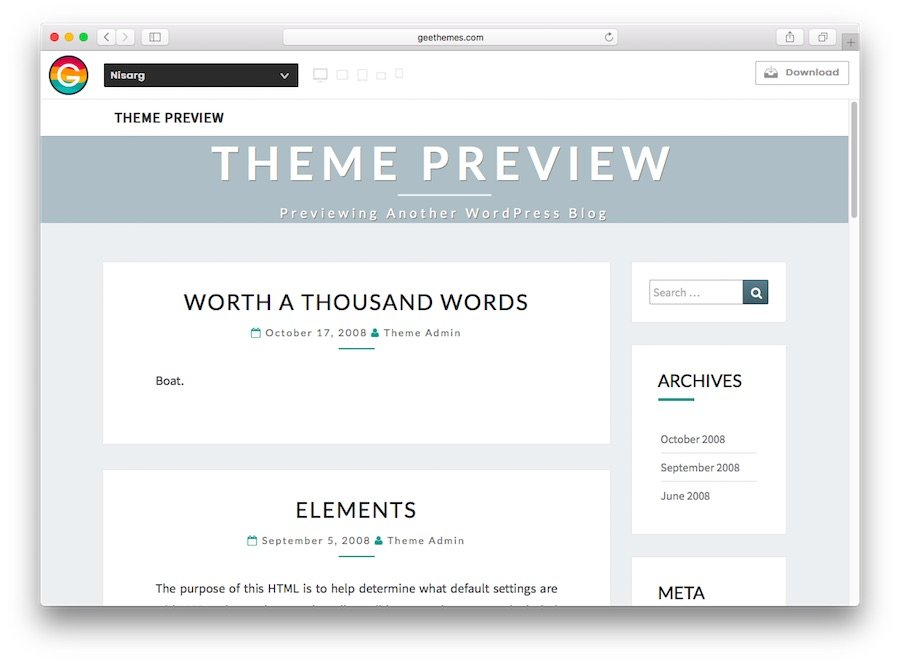 Nisarg WordPress theme demo for blogs