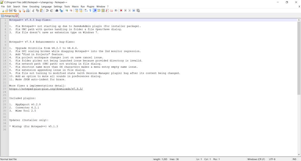 Screenshot of the notepad++ interface