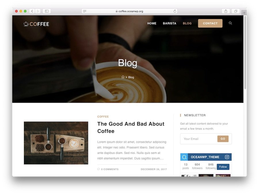 OceanWp WordPress theme demo for blogs