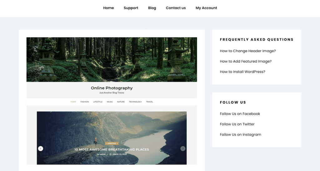 online photography theme