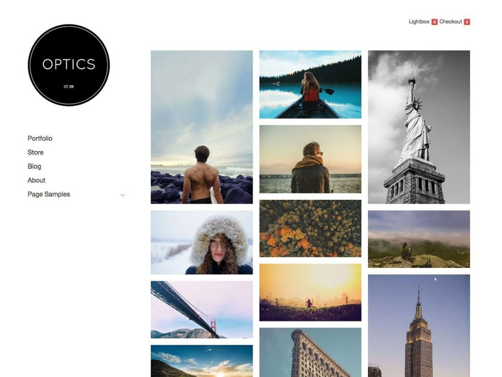 Optics WordPress portfolio theme