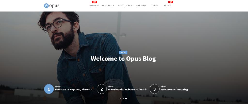 Opus Free WordPress Blog Theme