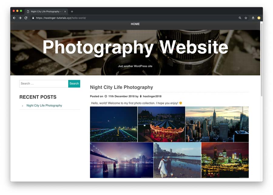 Photography website gallery example