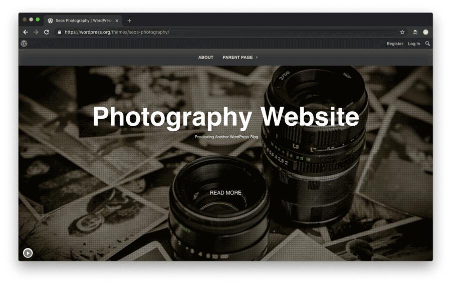 WordPress photography website theme example 1