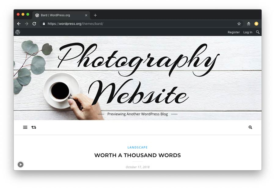 WordPress photography website theme example 2
