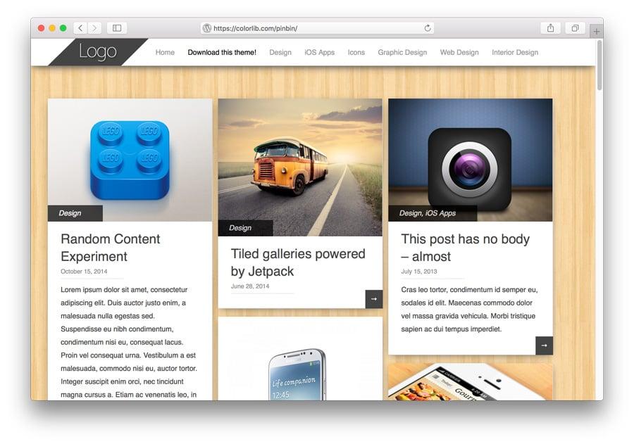 Pinbin WordPress Porftolio Theme