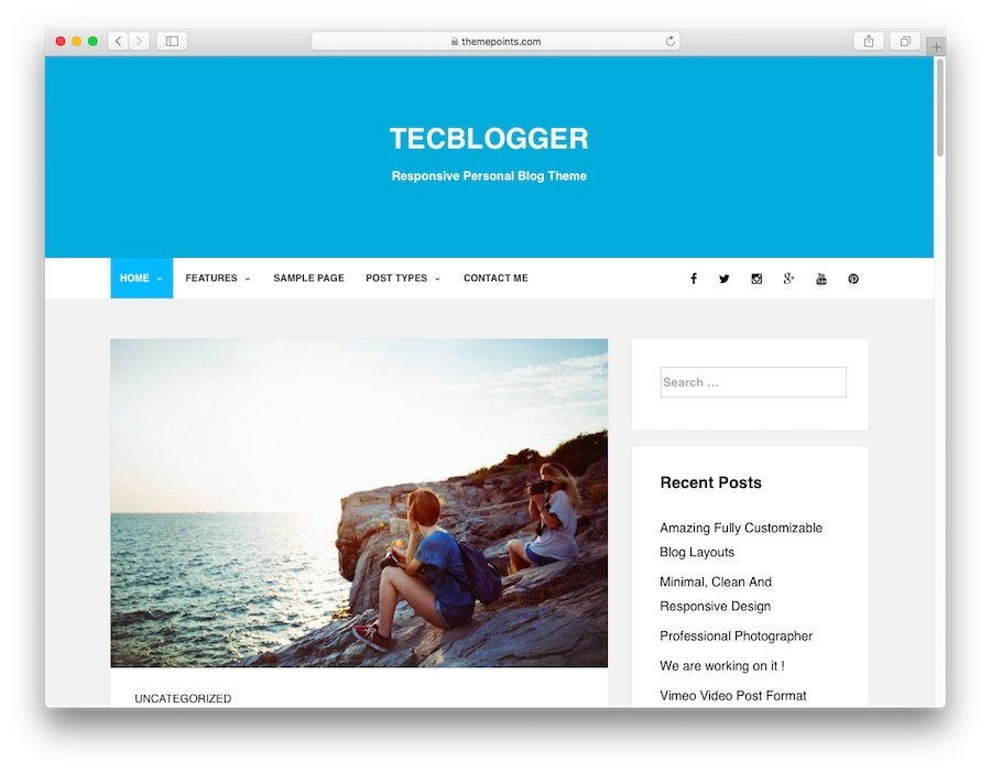 Tecblogger WordPress theme demo for blogs