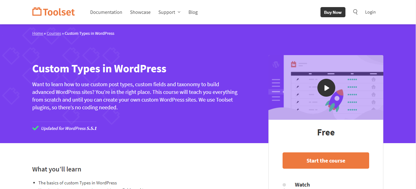 Toolset landing page to learn wordpress