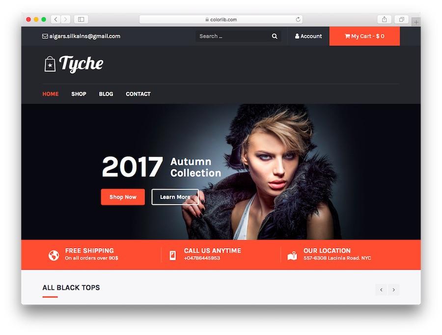 Tyche WordPress eCommerce home page demo theme