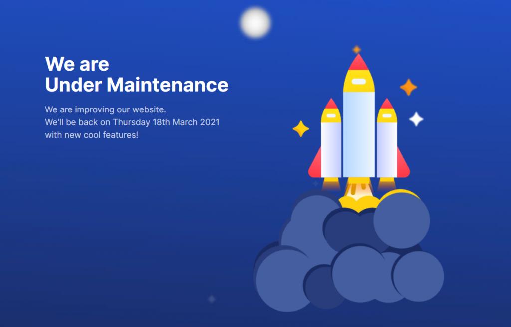 Under maintenance landing page