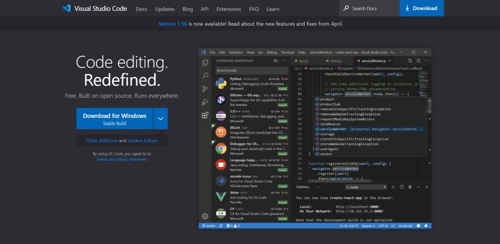 Screenshot of the Visual Studio Code website